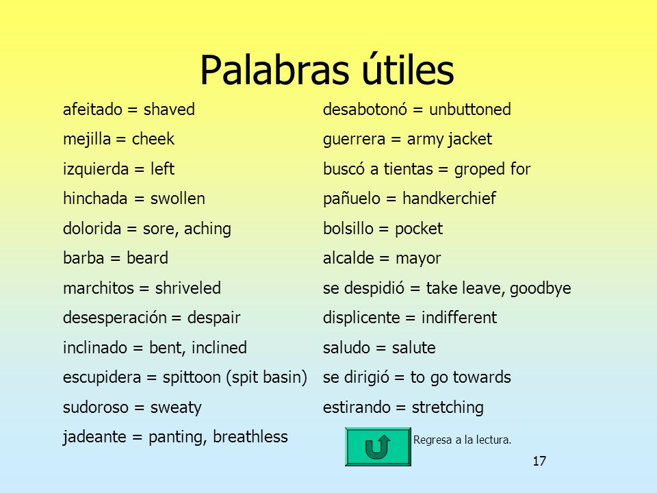 17 Palabras útiles afeitado = shaveddesabotonó = unbuttoned mejilla = cheekguerrera = army jacket izquierda = leftbuscó a tientas = groped for hinchad