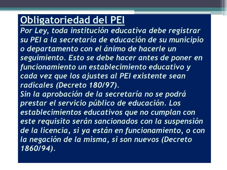 Un poco de historia… El PEI fue contemplado en la Ley General de Educación de 1994, en su artículo 73.