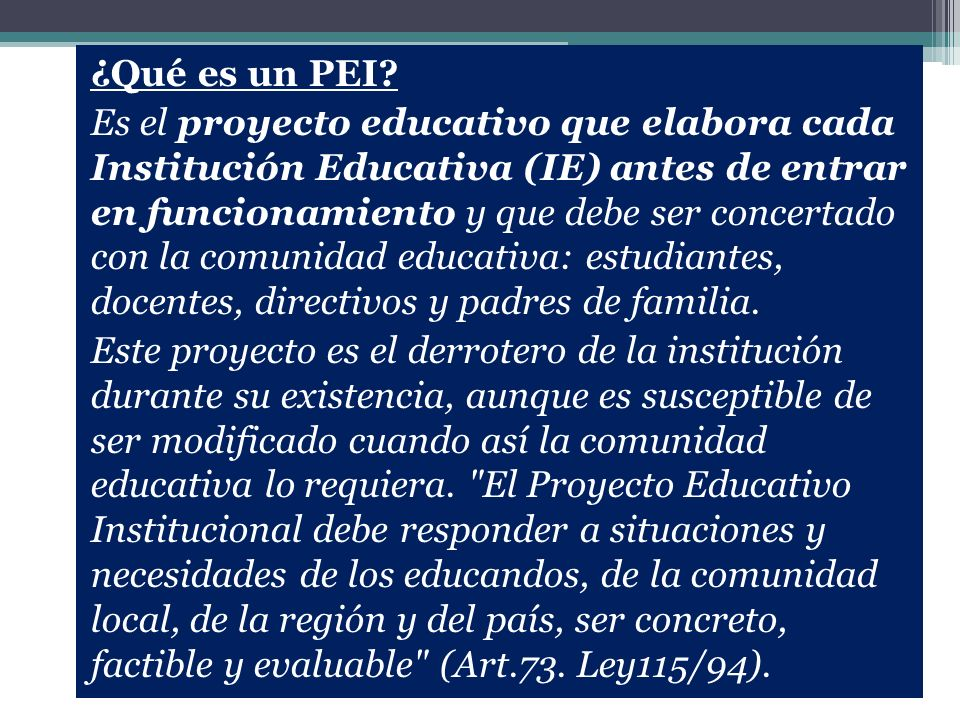Para responder los interrogantes, entrevistamos a Ligia Victoria Nieto, quien fue coordinadora Nacional del PEI en el Ministerio de Educación durante