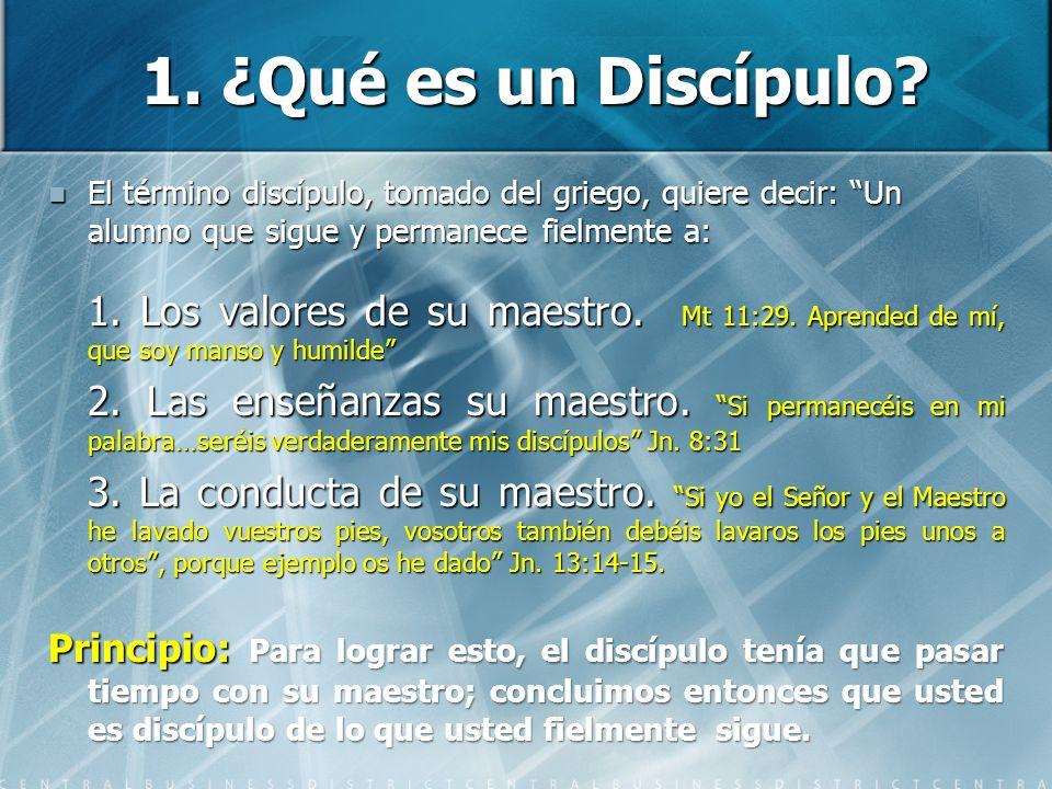 1. ¿Qué es un Discípulo? El término discípulo, tomado del griego, quiere decir: Un alumno que sigue y permanece fielmente a: El término discípulo, tom