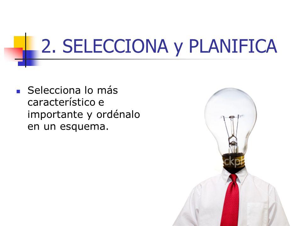 2. SELECCIONA y PLANIFICA Selecciona lo más característico e importante y ordénalo en un esquema.