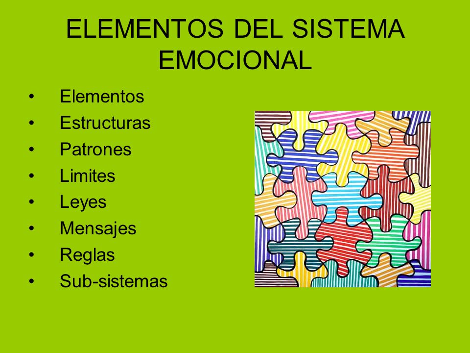 ELEMENTOS DEL SISTEMA EMOCIONAL Elementos Estructuras Patrones Limites Leyes Mensajes Reglas Sub-sistemas
