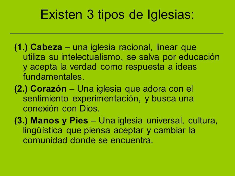 Existen 3 tipos de Iglesias: (1.) Cabeza – una iglesia racional, linear que utiliza su intelectualismo, se salva por educación y acepta la verdad como