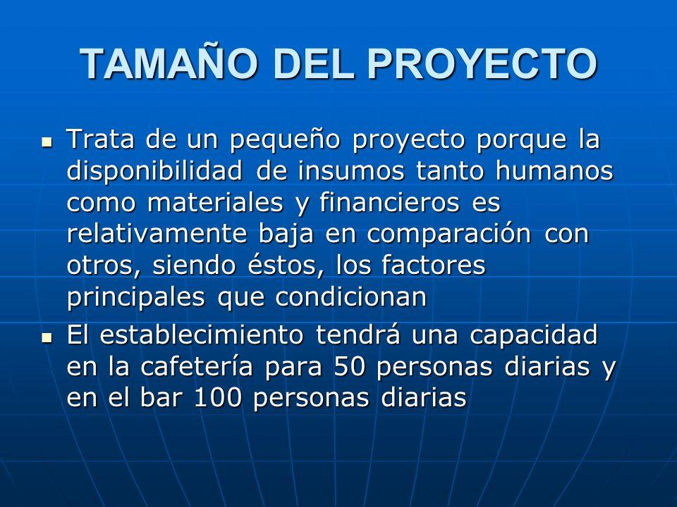 TAMAÑO DEL PROYECTO Trata de un pequeño proyecto porque la disponibilidad de insumos tanto humanos como materiales y financieros es relativamente baja