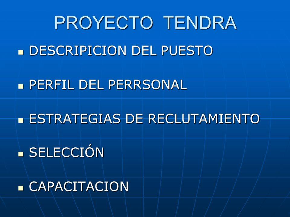 PROYECTO TENDRA DESCRIPICION DEL PUESTO DESCRIPICION DEL PUESTO PERFIL DEL PERRSONAL PERFIL DEL PERRSONAL ESTRATEGIAS DE RECLUTAMIENTO ESTRATEGIAS DE