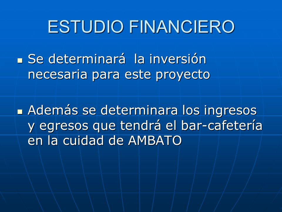 ESTUDIO FINANCIERO Se determinará la inversión necesaria para este proyecto Se determinará la inversión necesaria para este proyecto Además se determi