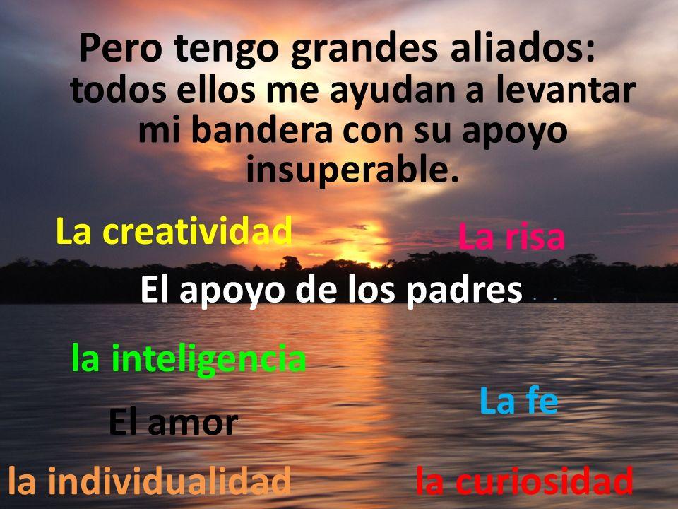 Pero tengo grandes aliados: la inteligencia la curiosidadla individualidad La creatividad El apoyo de los padres La fe El amor La risa todos ellos me ayudan a levantar mi bandera con su apoyo insuperable.