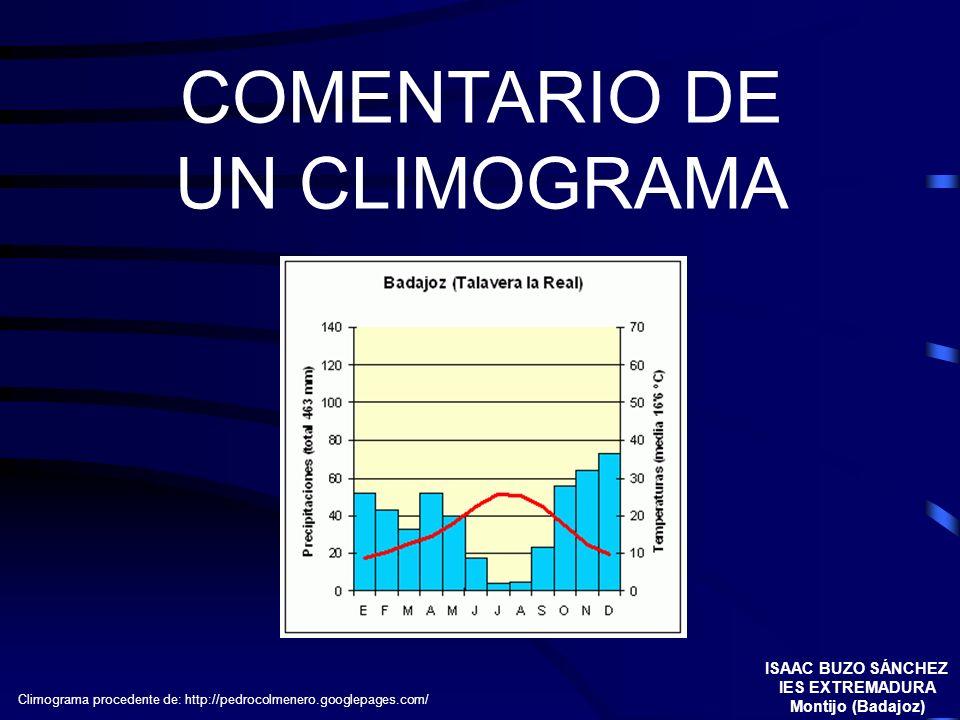 COMENTARIO DE UN CLIMOGRAMA ISAAC BUZO SÁNCHEZ IES EXTREMADURA Montijo (Badajoz) Climograma procedente de: http://pedrocolmenero.googlepages.com/
