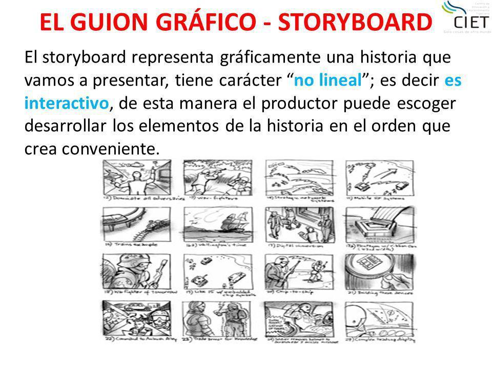 EL GUION GRÁFICO - STORYBOARD El storyboard representa gráficamente una historia que vamos a presentar, tiene carácter no lineal; es decir es interact