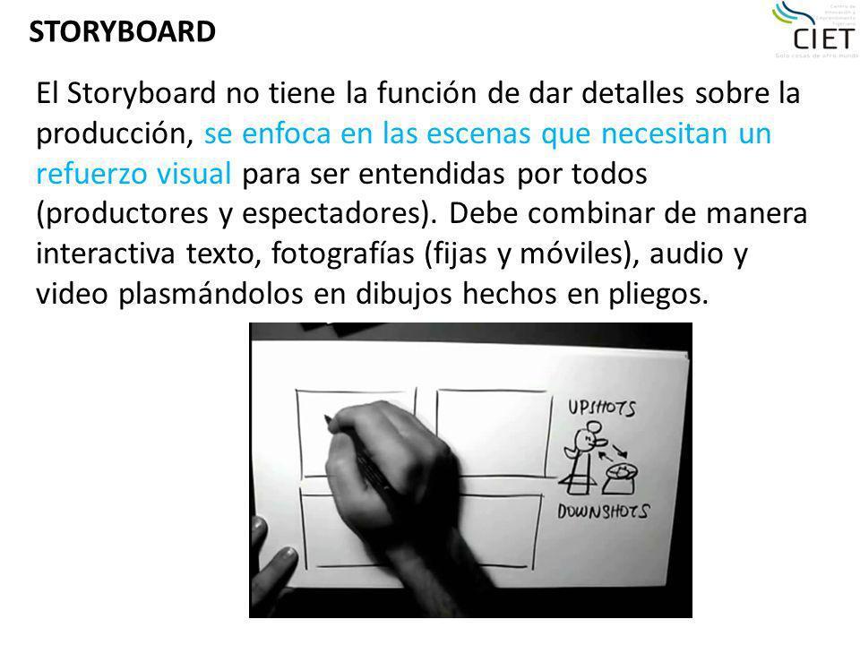 STORYBOARD El Storyboard no tiene la función de dar detalles sobre la producción, se enfoca en las escenas que necesitan un refuerzo visual para ser e