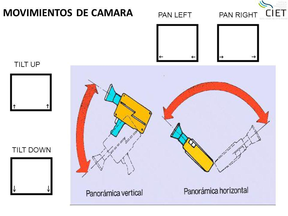 MOVIMIENTOS DE CAMARA PAN LEFTPAN RIGHT TILT UP TILT DOWN