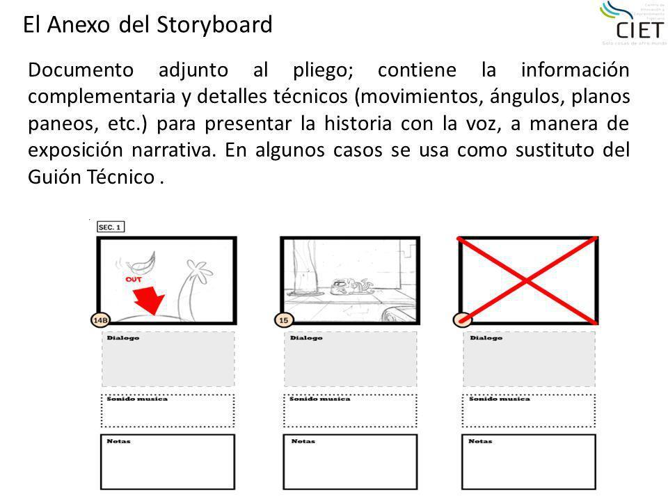 El Anexo del Storyboard Documento adjunto al pliego; contiene la información complementaria y detalles técnicos (movimientos, ángulos, planos paneos,
