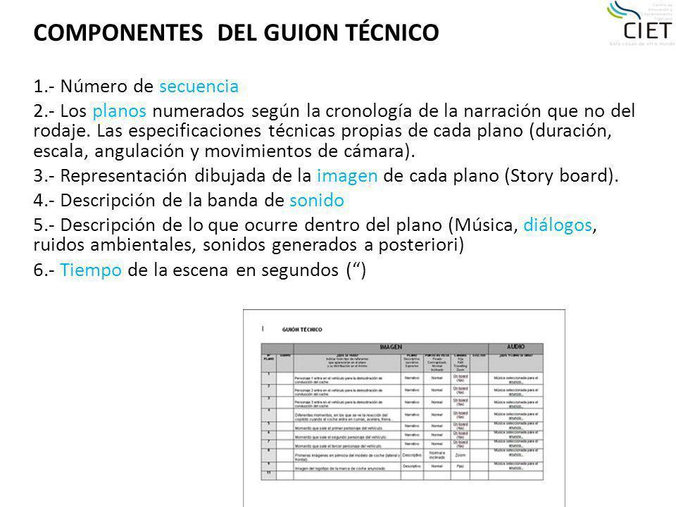 COMPONENTES DEL GUION TÉCNICO 1.- Número de secuencia 2.- Los planos numerados según la cronología de la narración que no del rodaje. Las especificaci