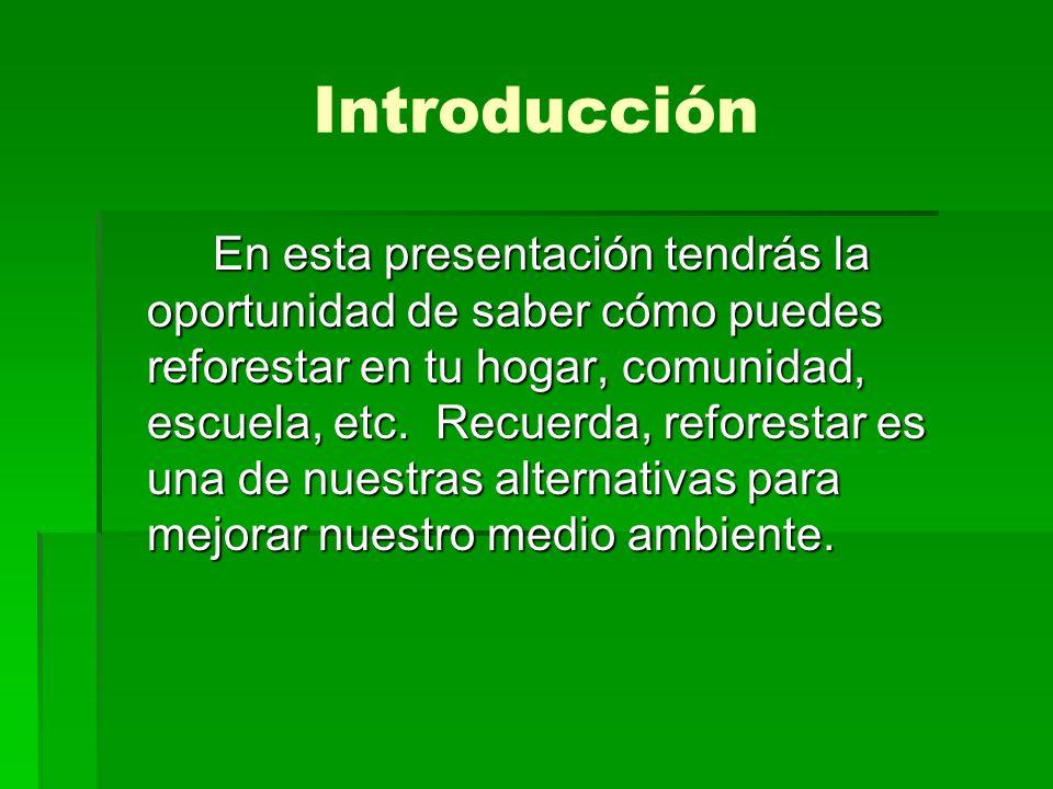 Introducción En esta presentación tendrás la oportunidad de saber cómo puedes reforestar en tu hogar, comunidad, escuela, etc. Recuerda, reforestar es