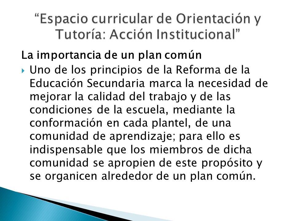 La importancia de un plan común Uno de los principios de la Reforma de la Educación Secundaria marca la necesidad de mejorar la calidad del trabajo y