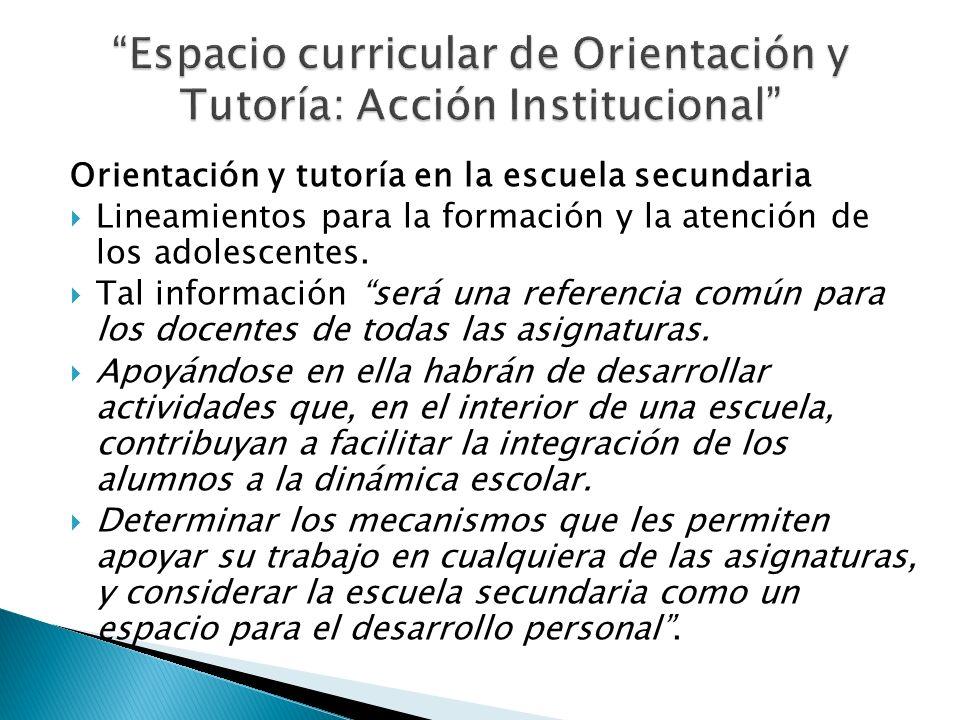 Orientación y tutoría en la escuela secundaria Lineamientos para la formación y la atención de los adolescentes. Tal información será una referencia c