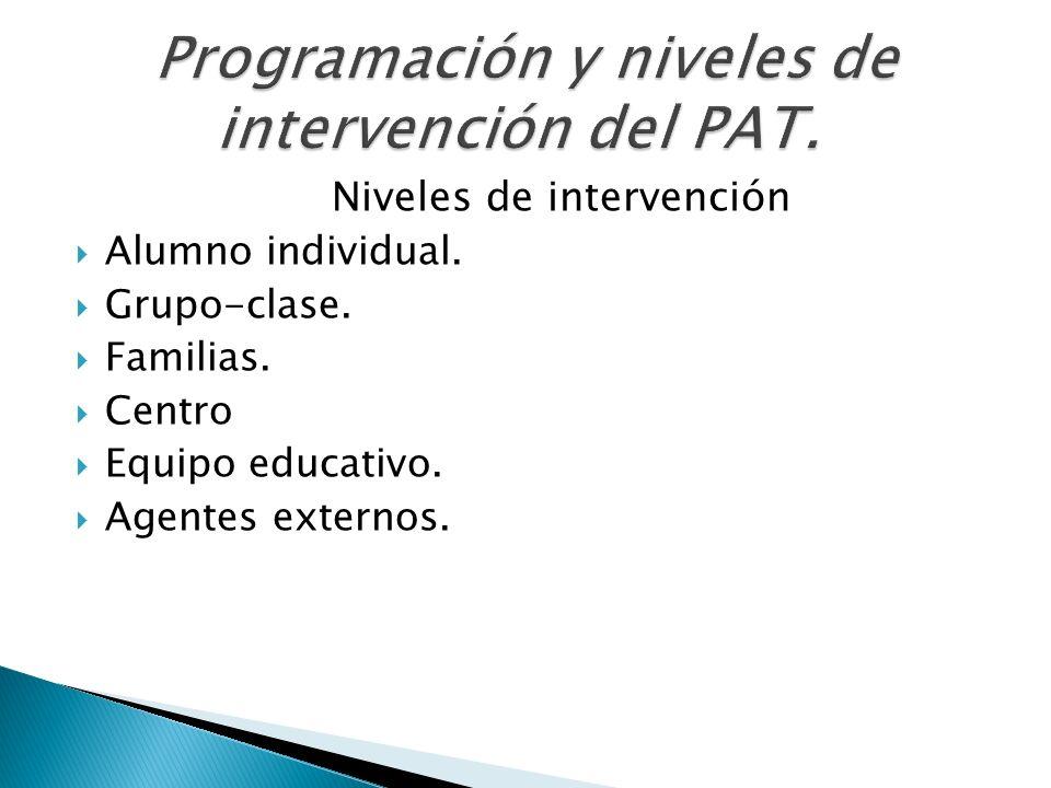 Niveles de intervención Alumno individual. Grupo-clase. Familias. Centro Equipo educativo. Agentes externos.