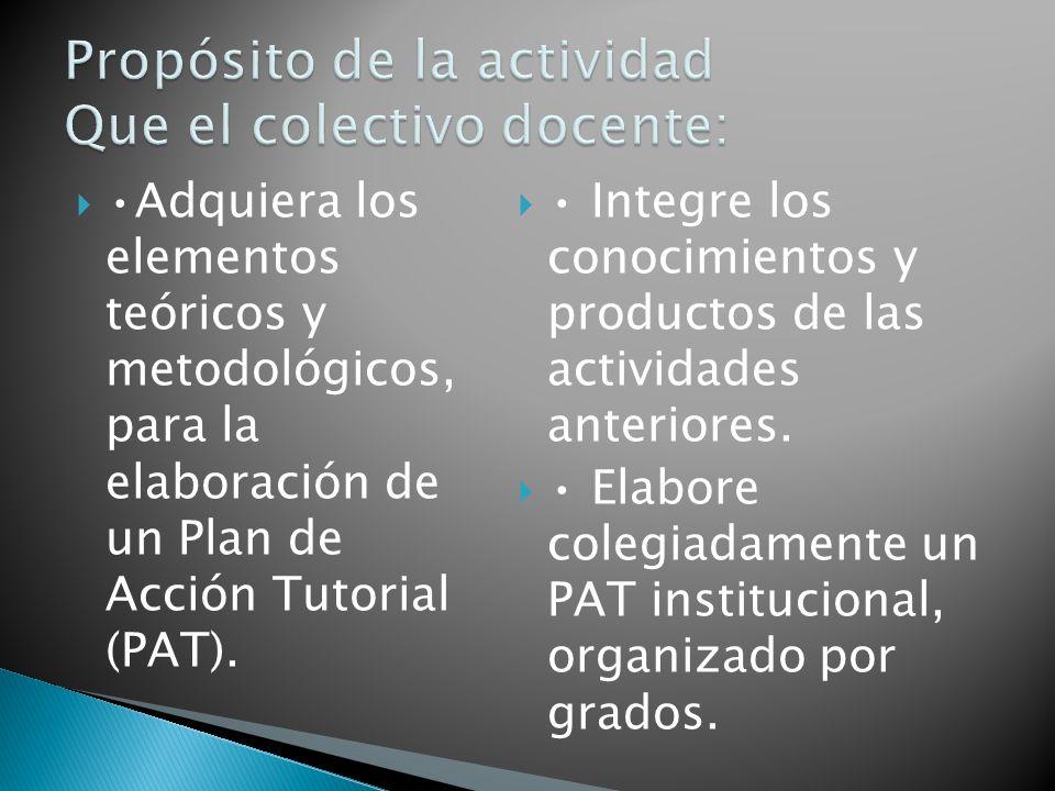 Adquiera los elementos teóricos y metodológicos, para la elaboración de un Plan de Acción Tutorial (PAT). Integre los conocimientos y productos de las