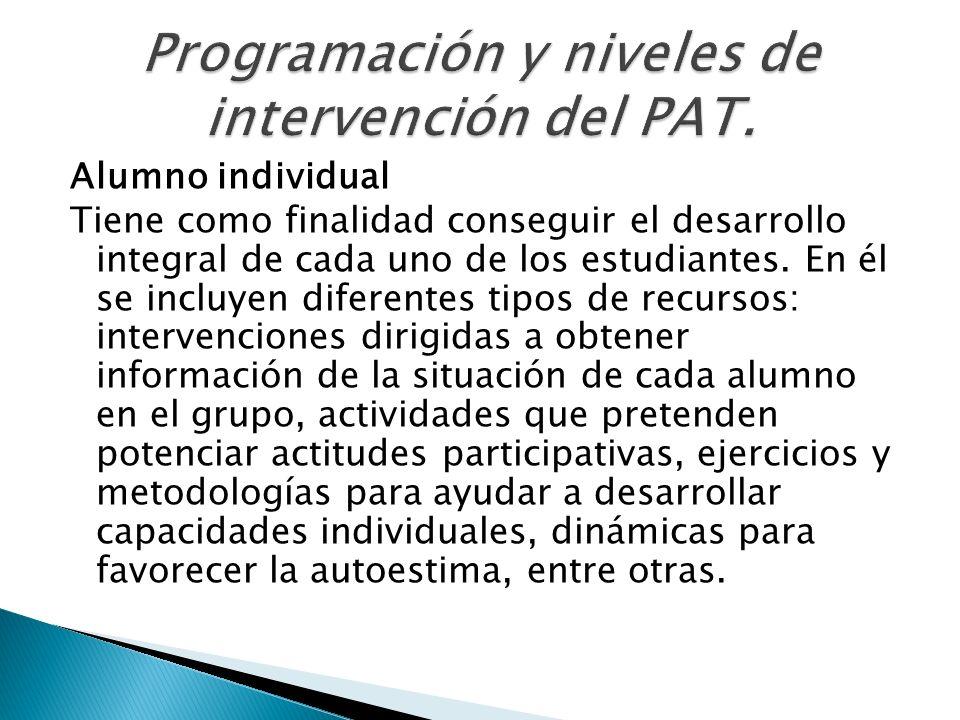 Alumno individual Tiene como finalidad conseguir el desarrollo integral de cada uno de los estudiantes. En él se incluyen diferentes tipos de recursos