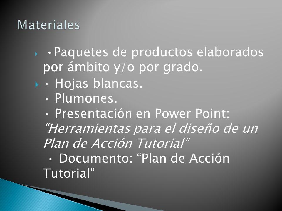 Paquetes de productos elaborados por ámbito y/o por grado. Hojas blancas. Plumones. Presentación en Power Point: Herramientas para el diseño de un Pla
