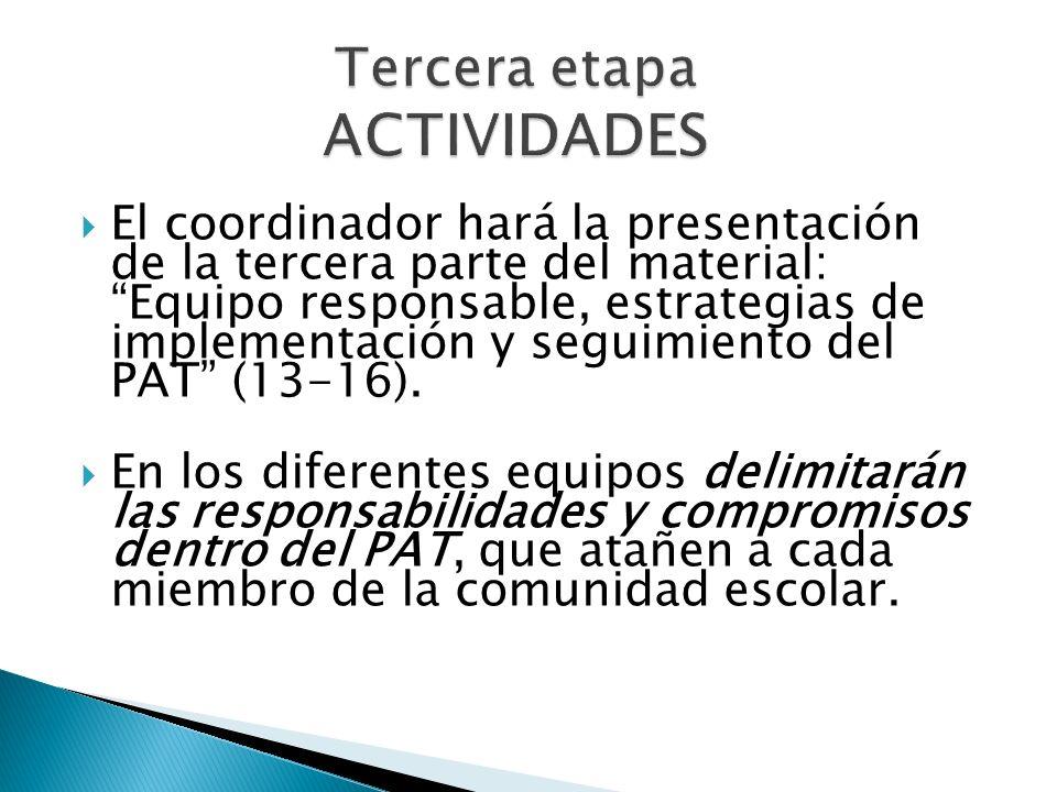 Tercera etapa ACTIVIDADES El coordinador hará la presentación de la tercera parte del material: Equipo responsable, estrategias de implementación y se