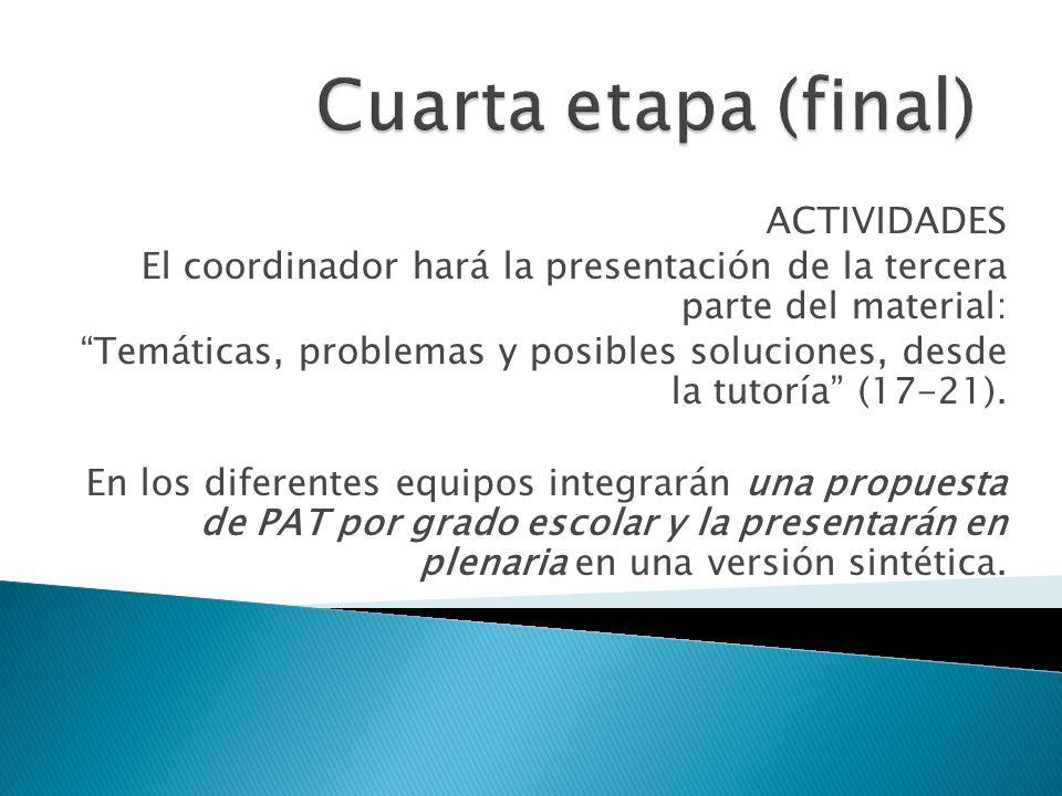 ACTIVIDADES El coordinador hará la presentación de la tercera parte del material: Temáticas, problemas y posibles soluciones, desde la tutoría (17-21)