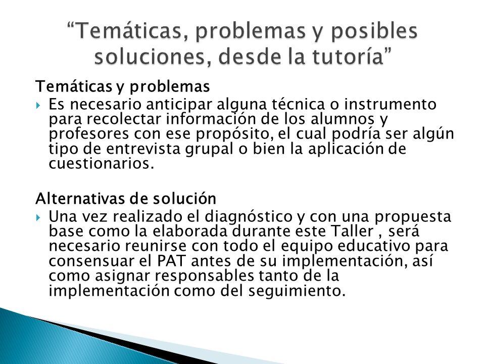Temáticas y problemas Es necesario anticipar alguna técnica o instrumento para recolectar información de los alumnos y profesores con ese propósito, e