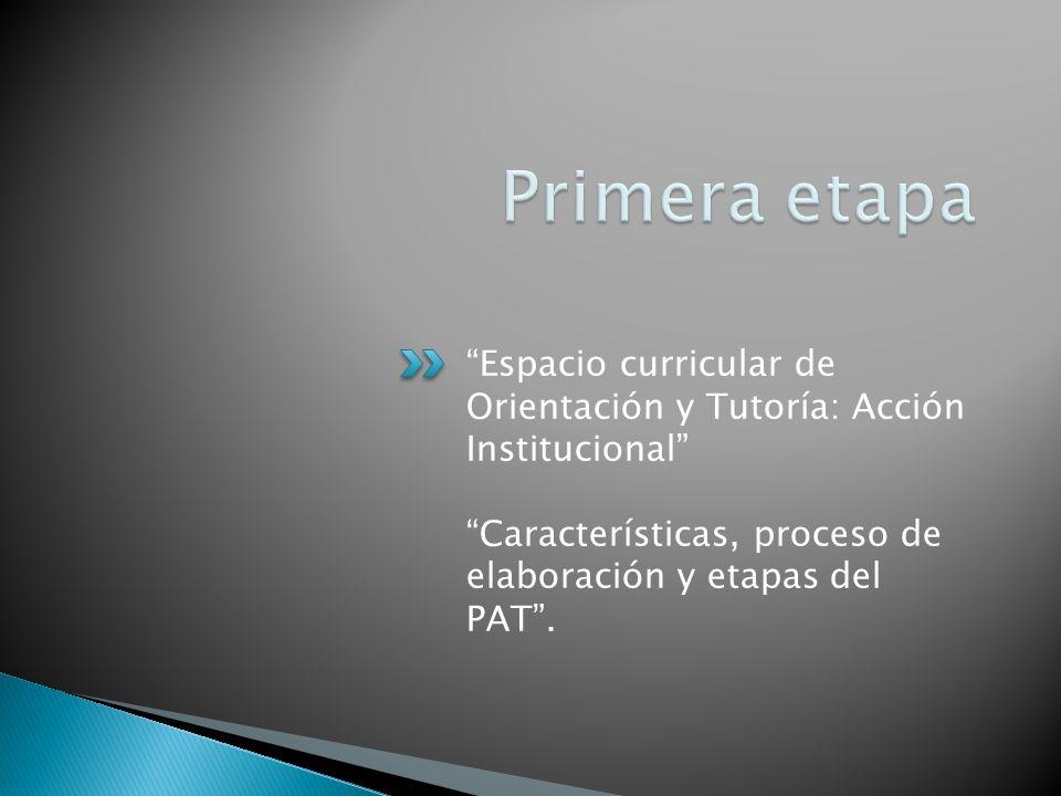 Espacio curricular de Orientación y Tutoría: Acción Institucional Características, proceso de elaboración y etapas del PAT.