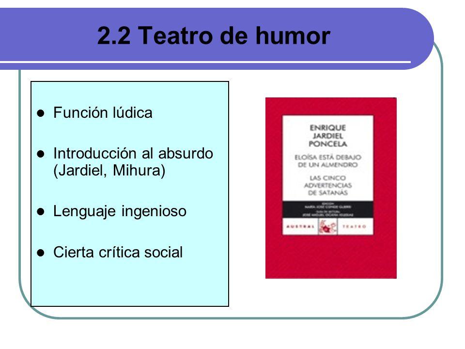 Hay diferentes tipos: - Sainete: teatro popularista con tendencia crítica (Arniches) y tópicos andaluces (hermanos Quintero).