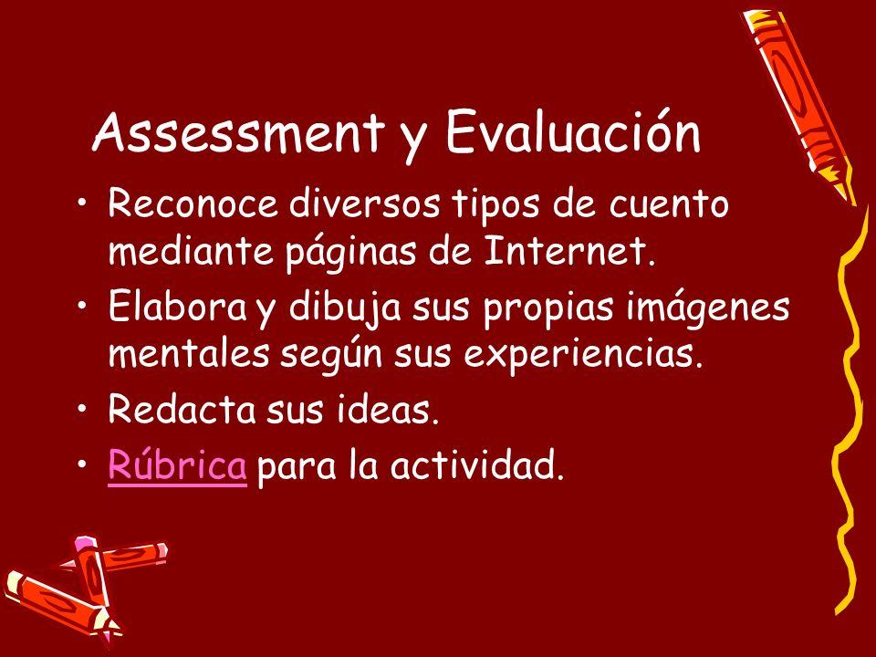 Assessment y Evaluación Reconoce diversos tipos de cuento mediante páginas de Internet. Elabora y dibuja sus propias imágenes mentales según sus exper