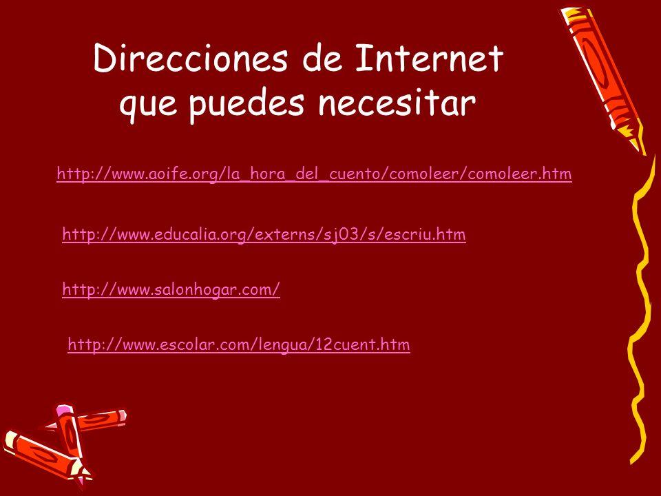 Direcciones de Internet que puedes necesitar http://www.aoife.org/la_hora_del_cuento/comoleer/comoleer.htm http://www.educalia.org/externs/sj03/s/escr