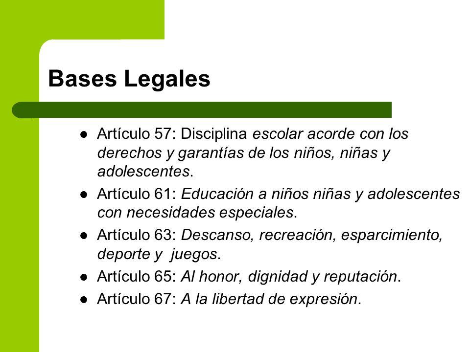 Bases Legales Artículo 57: Disciplina escolar acorde con los derechos y garantías de los niños, niñas y adolescentes. Artículo 61: Educación a niños n