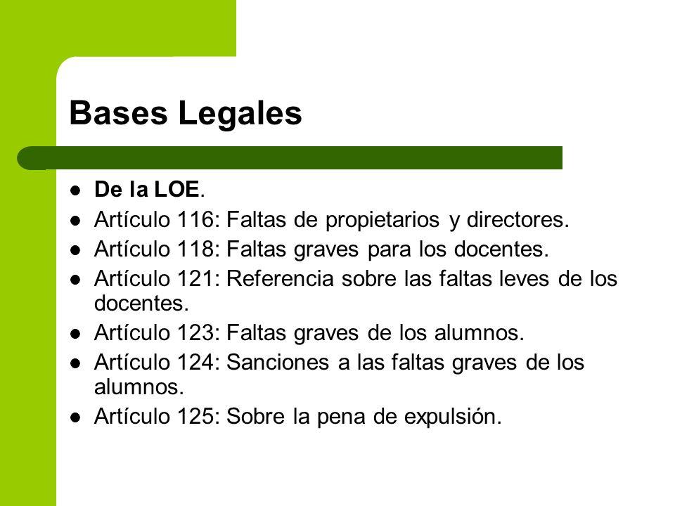 Bases Legales De la LOE. Artículo 116: Faltas de propietarios y directores. Artículo 118: Faltas graves para los docentes. Artículo 121: Referencia so