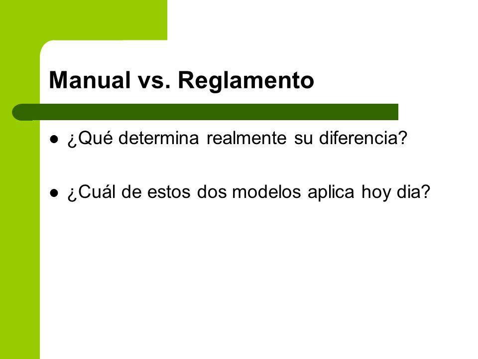 Manual vs. Reglamento ¿Qué determina realmente su diferencia? ¿Cuál de estos dos modelos aplica hoy dia?