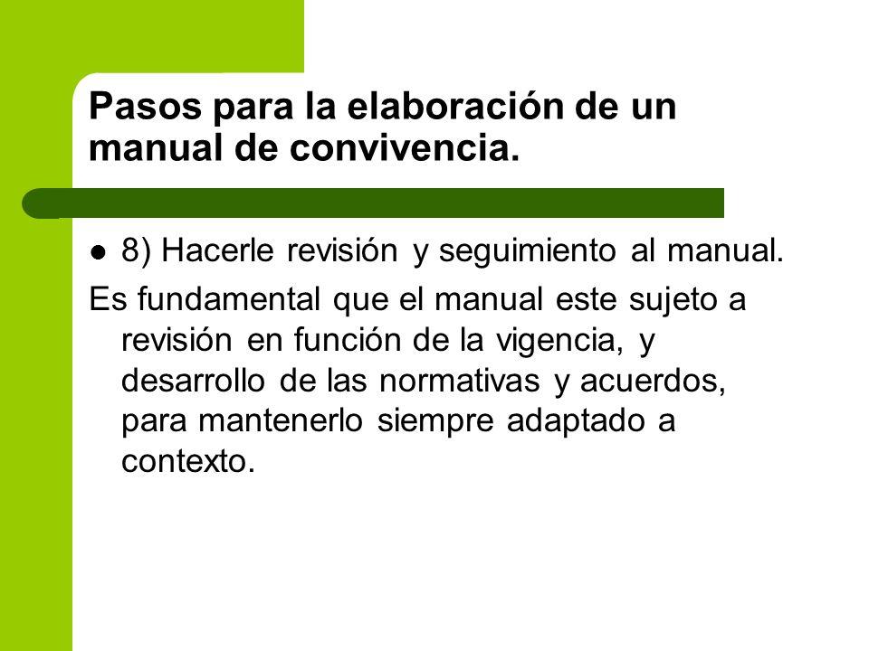 8) Hacerle revisión y seguimiento al manual. Es fundamental que el manual este sujeto a revisión en función de la vigencia, y desarrollo de las normat