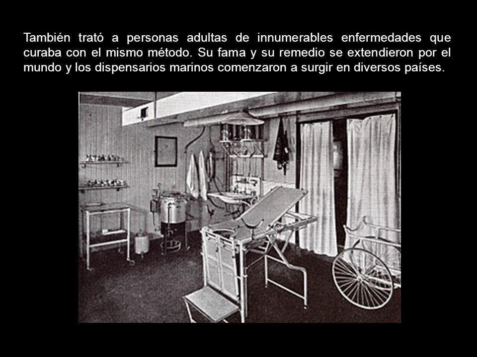 Realizó varios experimentos que le llevaron a la fama, momento en el que comenzó en Francia el nacimiento de los dispensarios marinos impulsados por é
