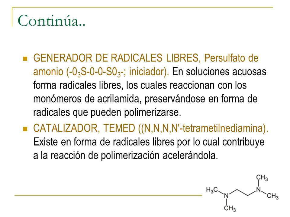 Continúa.. GENERADOR DE RADICALES LIBRES, Persulfato de amonio (-0 3 S-0-0-S0 3 -; iniciador). En soluciones acuosas forma radicales libres, los cuale