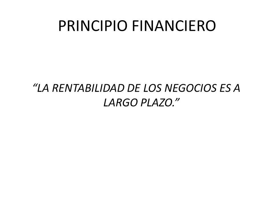 PRINCIPIO FINANCIERO LA RENTABILIDAD DE LOS NEGOCIOS ES A LARGO PLAZO.