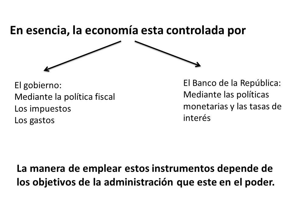 En esencia, la economía esta controlada por El gobierno: Mediante la política fiscal Los impuestos Los gastos El Banco de la República: Mediante las p
