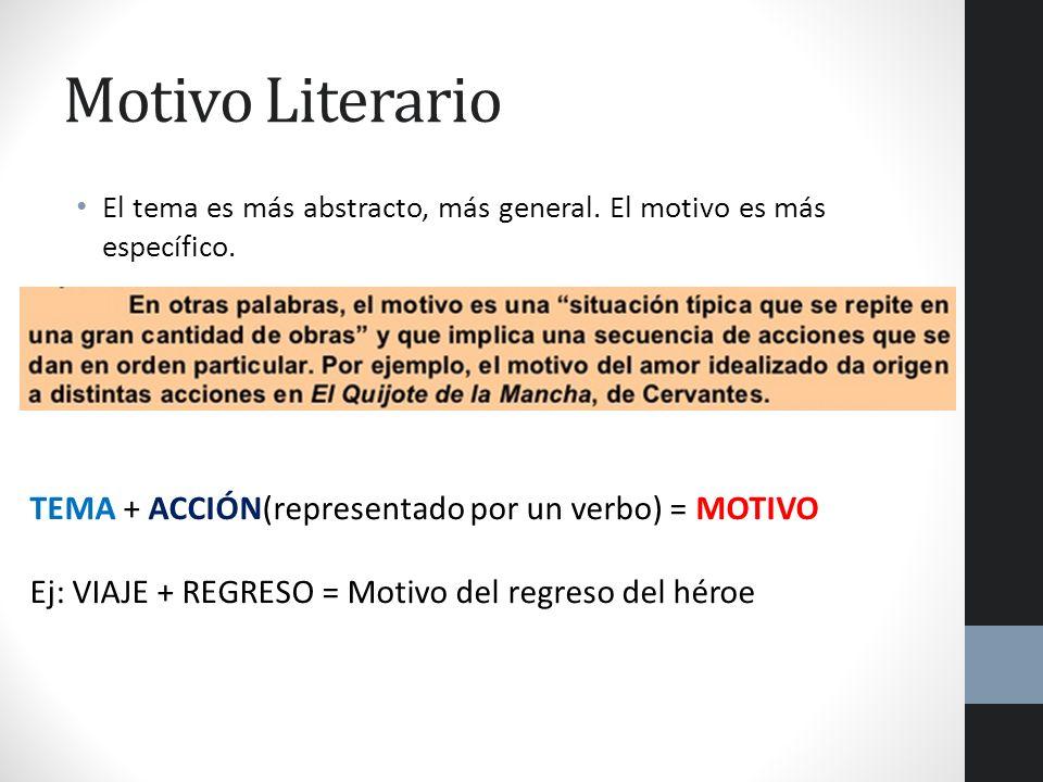 Motivo Literario El tema es más abstracto, más general. El motivo es más específico. TEMA + ACCIÓN(representado por un verbo) = MOTIVO Ej: VIAJE + REG