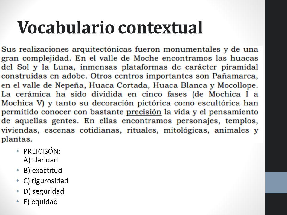 Vocabulario contextual PREICISÓN: A) claridad B) exactitud C) rigurosidad D) seguridad E) equidad