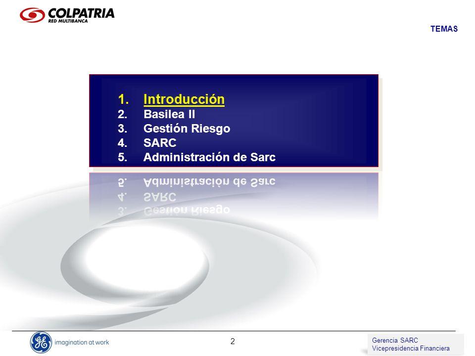 Gerencia de SARC Vicepresidencia de Compliance 2 TEMAS Gerencia SARC Vicepresidencia Financiera
