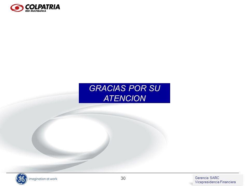 Gerencia de SARC Vicepresidencia de Compliance 30 GRACIAS POR SU ATENCION Gerencia SARC Vicepresidencia Financiera