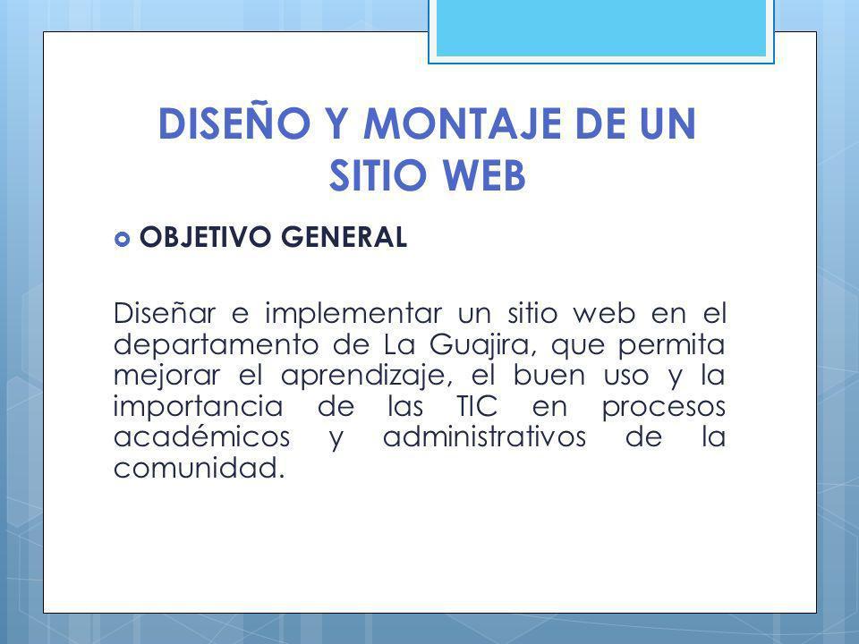 OBJETIVOS ESPECÍFICOS Diseñar un sitio Web para mejorar el aprendizaje de los procesos académicos y administrativos del departamento de la Guajira, mediante la recolección de la información.