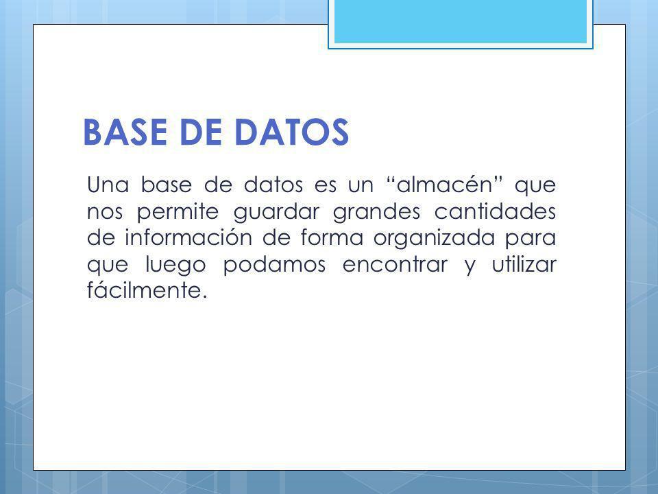 Sistema de Gestión de Base de Datos (SGBD) son un tipo de software muy específico, dedicado a servir de interfaz entre la base de datos, el usuario y las aplicaciones que la utilizan..