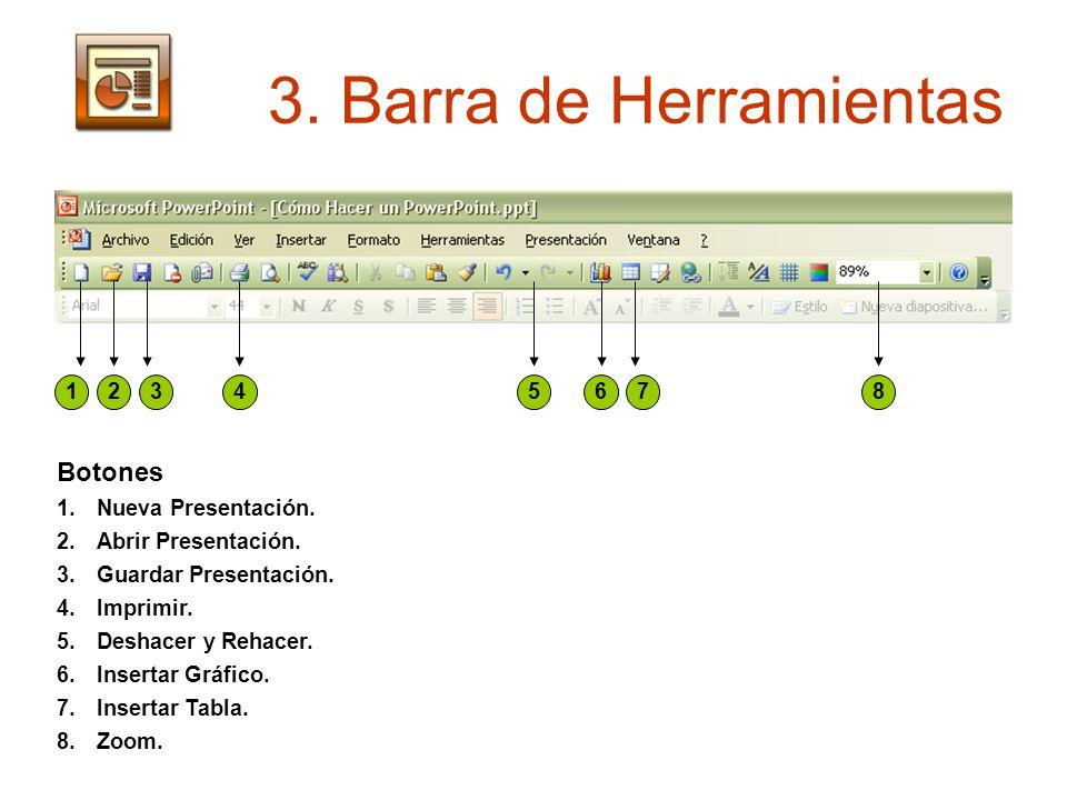 3. Barra de Herramientas 12345678 Botones 1.Nueva Presentación. 2.Abrir Presentación. 3.Guardar Presentación. 4.Imprimir. 5.Deshacer y Rehacer. 6.Inse