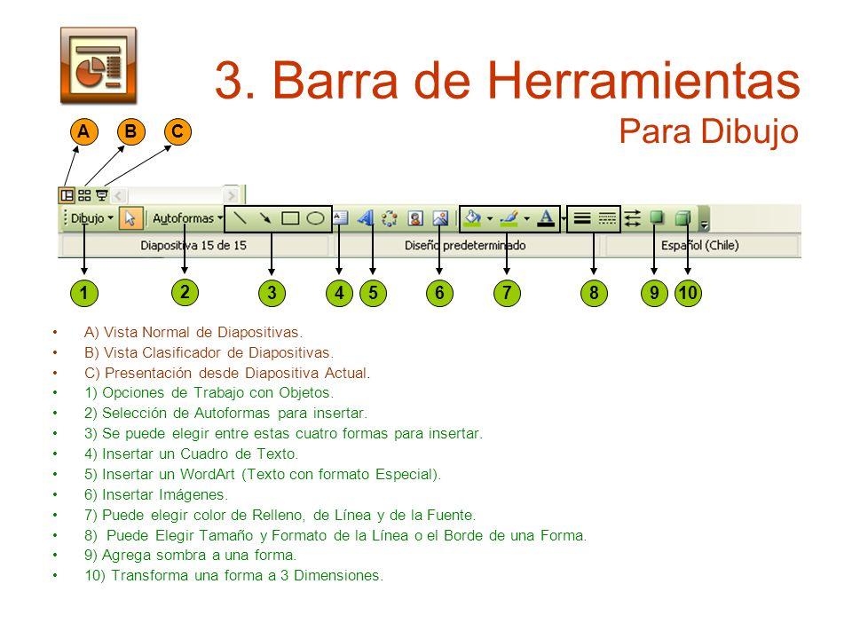 3. Barra de Herramientas A) Vista Normal de Diapositivas. B) Vista Clasificador de Diapositivas. C) Presentación desde Diapositiva Actual. 1) Opciones
