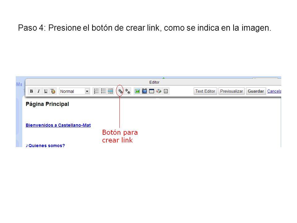 Paso 4: Presione el botón de crear link, como se indica en la imagen.