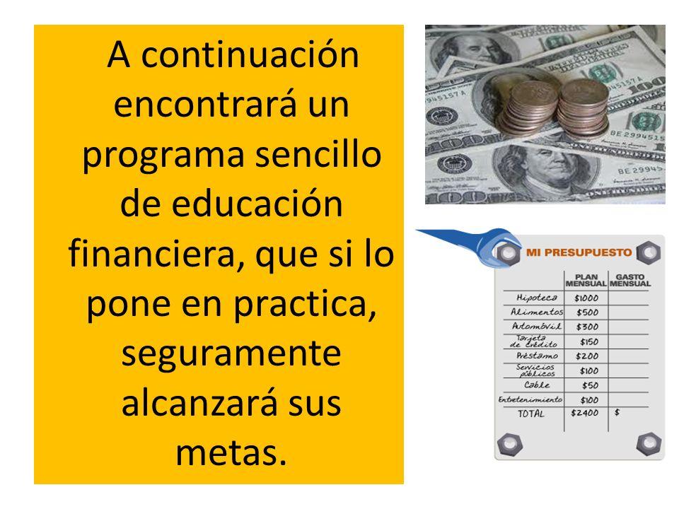 A continuación encontrará un programa sencillo de educación financiera, que si lo pone en practica, seguramente alcanzará sus metas.