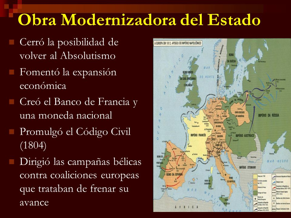Obra Modernizadora del Estado Cerró la posibilidad de volver al Absolutismo Fomentó la expansión económica Creó el Banco de Francia y una moneda nacio